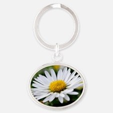 White Flower Oval Keychain