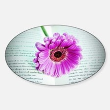 Wonderful Flower with Book Sticker (Oval)