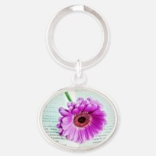 Wonderful Flower with Book Oval Keychain