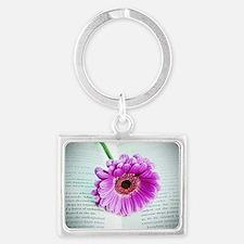 Wonderful Flower with Book Landscape Keychain