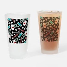 Dental Print Black with Red and Blu Drinking Glass