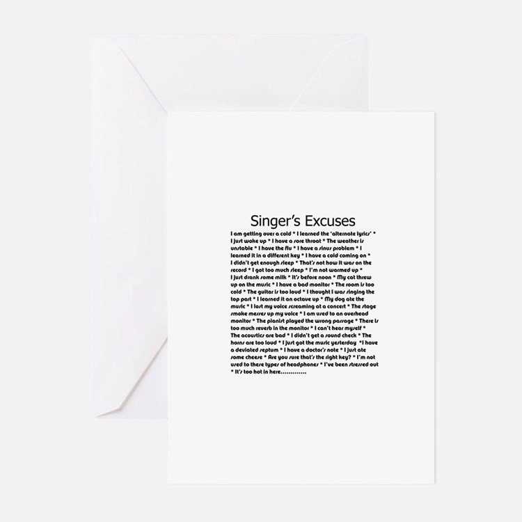 Singer's Excuses Greeting Cards (Pk of 10)
