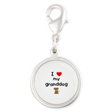 I love my granddog (3) Silver Round Charm