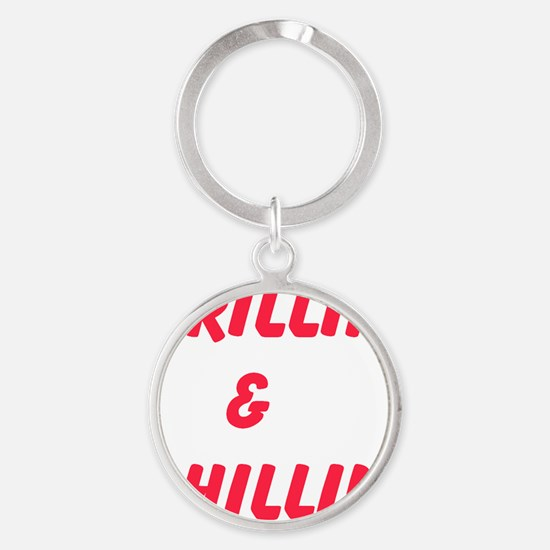 Grillin and Chillin Round Keychain