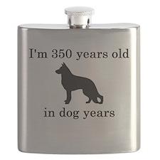 50 birthday dog years german shepherd black Flask