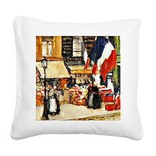 Bastille Day, Paris - paintin Square Canvas Pillow