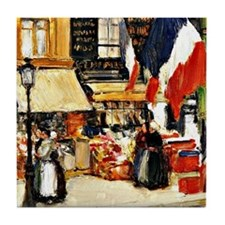 Bastille Day, Paris - painting by Chi Tile Coaster