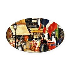 Bastille Day, Paris - painting by  Oval Car Magnet