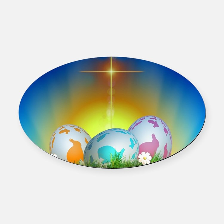 Easter Design Oval Car Magnet