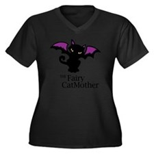 Fairy CatMot Women's Plus Size V-Neck Dark T-Shirt