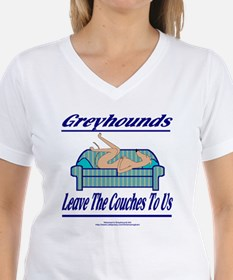 LEAVE THE COUCHES TO US WOMENS WHITE V NECK TEE