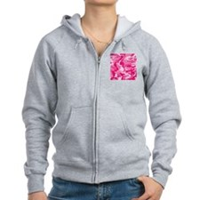 Cute Pink Camouflage with Custo Zip Hoodie
