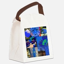 Collage-in-blue 001 Canvas Lunch Bag