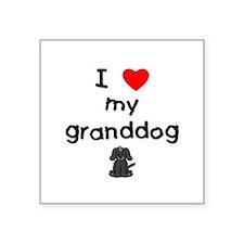 "I love my granddog (4) Square Sticker 3"" x 3"""