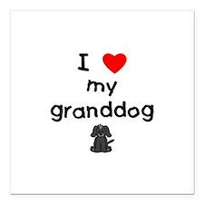 "I love my granddog (4) Square Car Magnet 3"" x 3"""