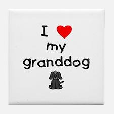 I love my granddog (4) Tile Coaster