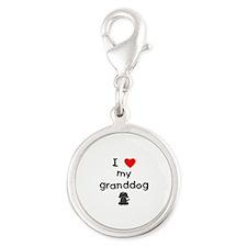 I love my granddog (4) Silver Round Charm