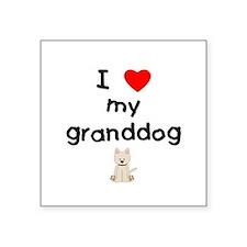 "I love my granddog (westie) Square Sticker 3"" x 3"""