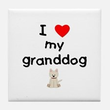I love my granddog (westie) Tile Coaster