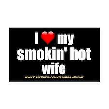 """Love My Smokin' Hot Wife"" Rectangle Car Magnet"