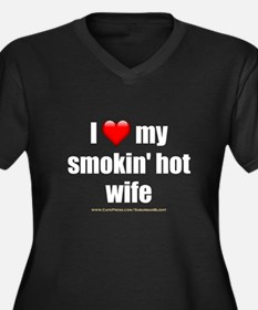 """Love My Smokin' Hot Wife"" Women's Plus Size V-Nec"