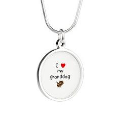 I love my granddog (5) Silver Round Necklace