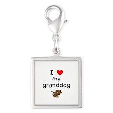 I love my granddog (5) Silver Square Charm