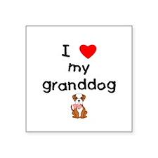 "I love my granddog (bulldog) Square Sticker 3"" x 3"