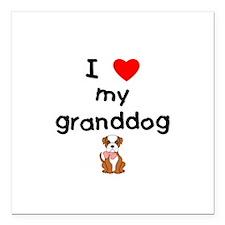 "I love my granddog (bulldog) Square Car Magnet 3"""
