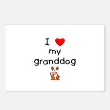 I love my granddog (bulldog) Postcards (Package of