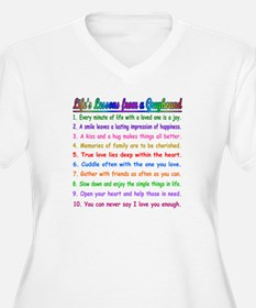 LIFE'S LESSONS WOMENS PLUS SIZE WHITE V NECK TEE