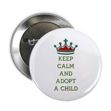 """KEEP CALM AND ADOPT A CHILD 2.25"""" Button (100 pack"""