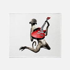 Monkey Playing Guitar Throw Blanket