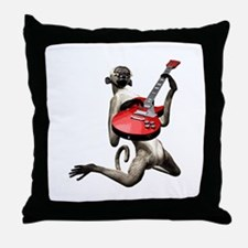 Monkey Playing Guitar Throw Pillow