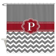 Gray Red Chevron Monogram Shower Curtain