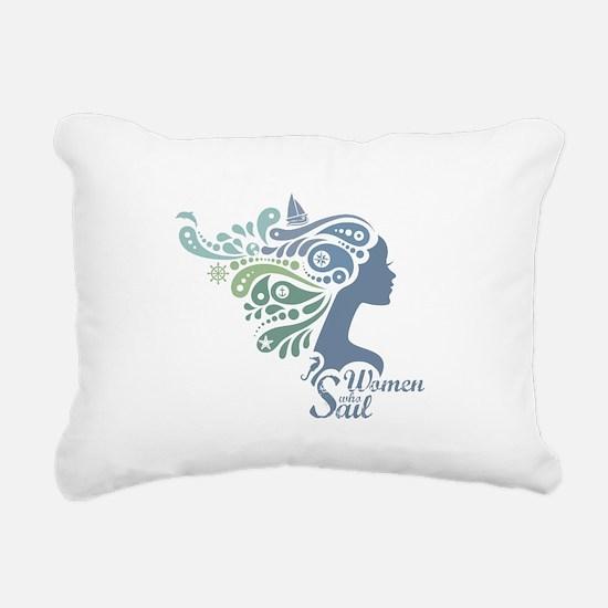 Woman Who Sail Logo Rectangular Canvas Pillow