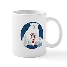 Polar Bear Winter Girl Circle Mugs
