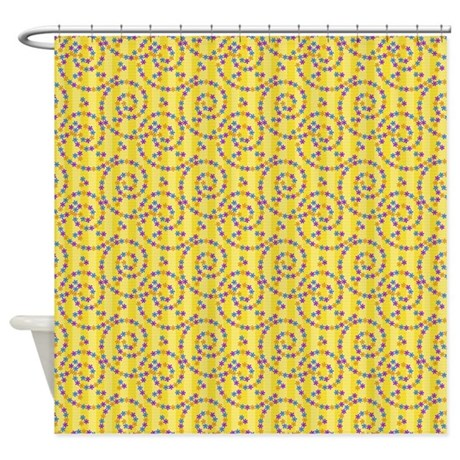 Yellow Purple Curl Pattern Shower Curtain By AccessorizeMe