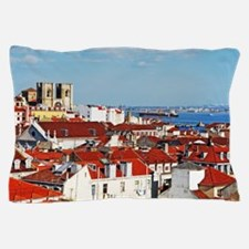 Lisbon cityscape with Se Cathedral Pillow Case