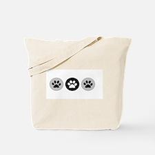 B&W Dog Paws Tote Bag