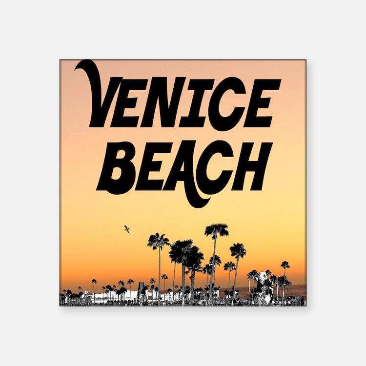 "Venice Beach Boardwalk Suns Square Sticker 3"" x 3"""