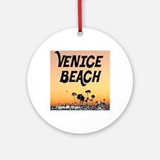 Venice Beach Boardwalk Sunset Round Ornament
