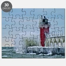 Lighthouse at South Haven Harbor, Michigan Puzzle