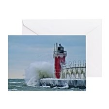 Lighthouse at South Haven Harbor, Mi Greeting Card
