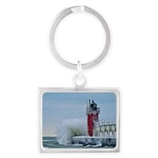 Lighthouse at South Haven Harbo Landscape Keychain