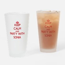 Keep Calm and Party with Sonia Drinking Glass