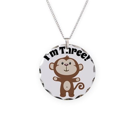 Monkey Im 3 Necklace Circle Charm