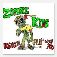 "Zombie kids Square Car Magnet 3"" x 3"""