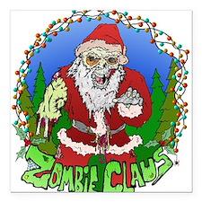 """Zombie Claus Square Car Magnet 3"""" x 3"""""""