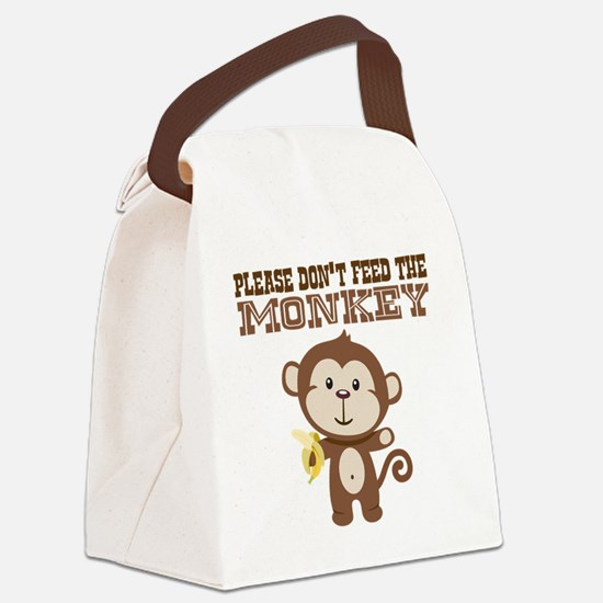Please Dont Feed Monkey Canvas Lunch Bag